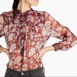 Lucky Brand Sheer Floral Tie-Neck Blouse Size XS